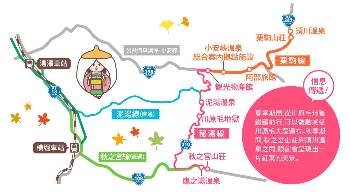 こまちシャトル 乗合タクシールートマップ